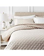 AmazonBasics Oversized Quilt Coverlet Bed Set - King, Beige Diamond
