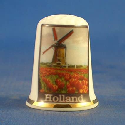 Porcelain China Collectable Thimble Travel Poster Series Holland Free Gift Box