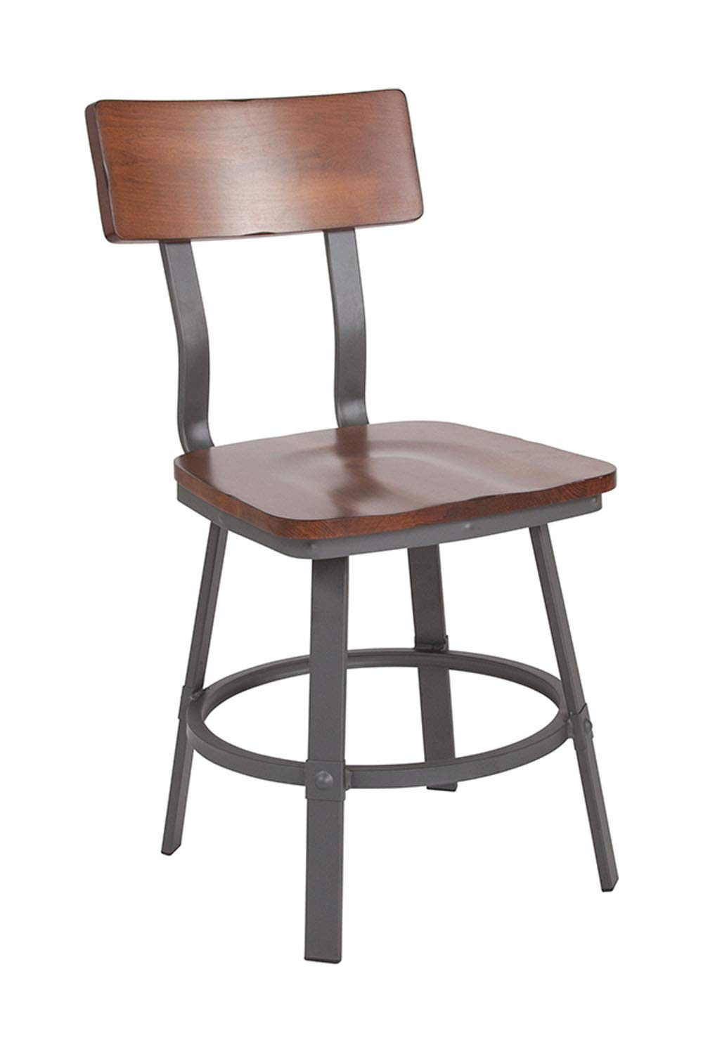 Offex Rustic Walnut Restaurant Chair with Wood Seat and Back