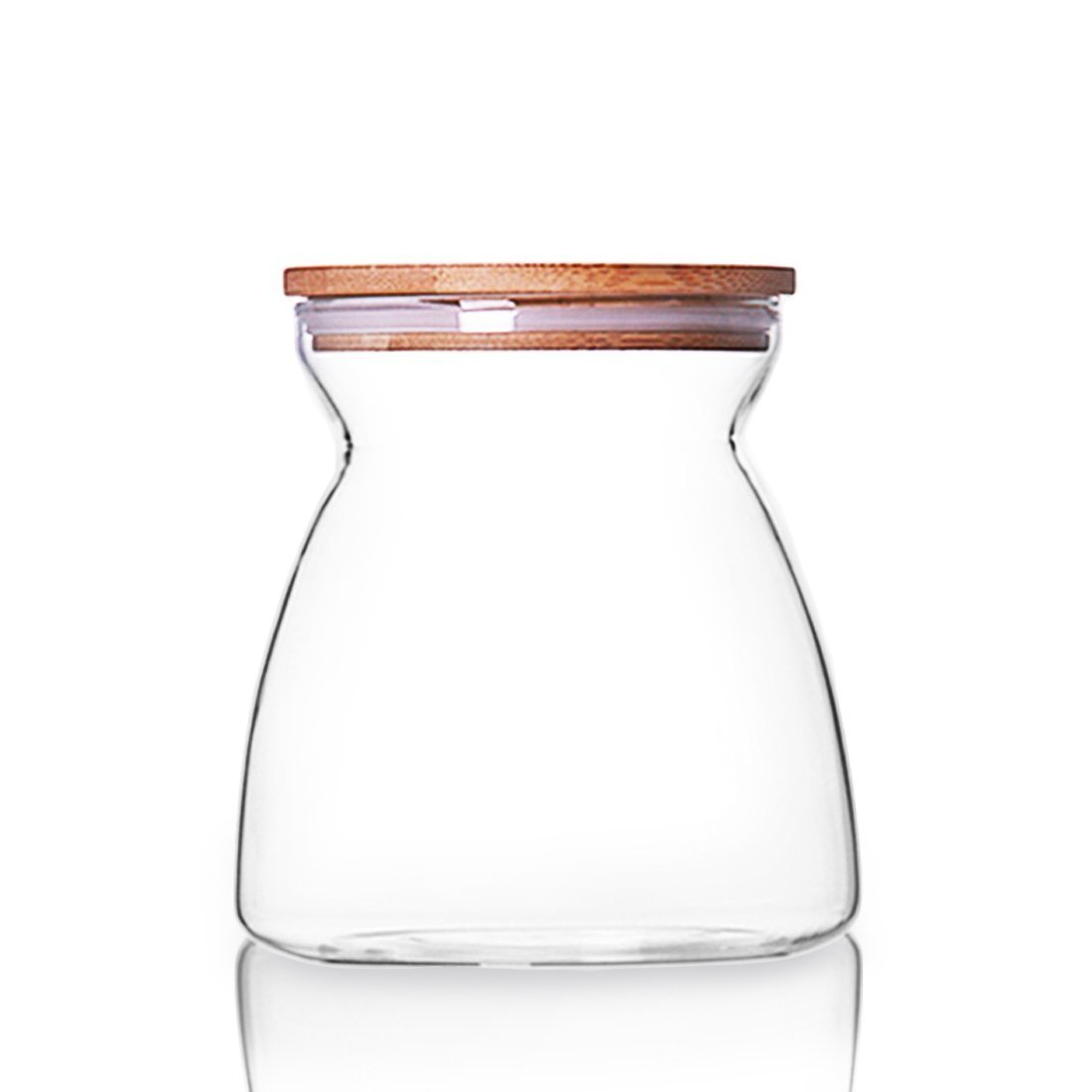 ONEISALL Glass Storage Jar with Wood Lid & Silicon Ring, Food Storage Container, Canisters 700ML for Pasta, Tea, Coffee, Cookies, Snacks