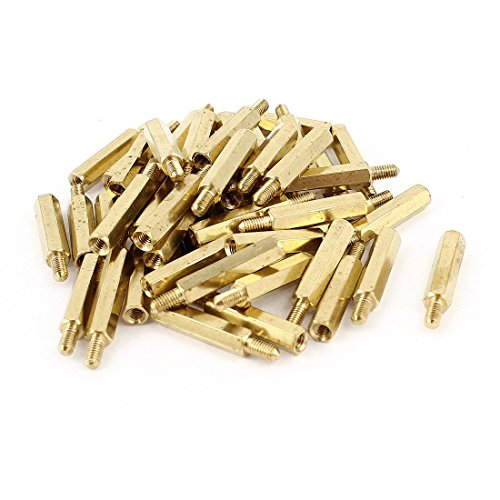 50 Pcs M3 3mm Male Female Brass PCB Spacer Hex Stand-Off Pillar 20mm