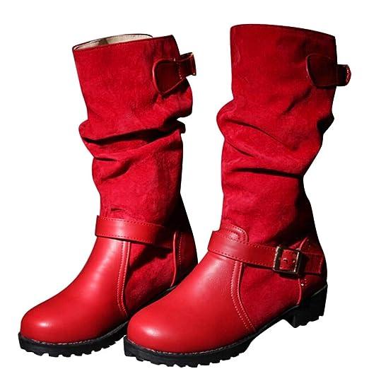 ❤ Botas de Invierno para Mujer, Zapatos de Hebilla y Correa Extra Anchos para Mujer, tacón Medio Informal, Planos con Botas Absolute: Amazon.es: Ropa y ...