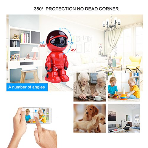 Wireless Ip Camera 1080P Robot 2.0MP Security Camera Night Vision Alarm Audio Baby Monitor Pan Tilt Remote Home Security P2P IR Night Vision for Mobile Android/IOS and Laptop (Red) by Tianbudz (Image #1)