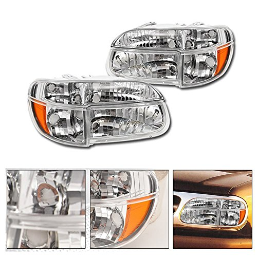 VXMOTOR 1995-2001 Ford Explorer / 1997 Mercury Mountaineer Factory Crystal Style Chrome Clear Head Lights Headlights + Signal Corner Light Lamp Amber 4PC DY