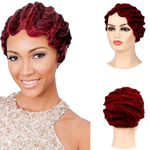 Finger Wave Wig (Baruisi Short Nuna Wigs Pixie Wigs for Women Synthetic Finger Wave Curly Hair Wig,Wine)