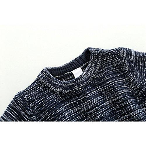 Little Boys Stripes Knitting Sweater Crewneck Sweatshirt Cotton Pullover Pajamas Deep Blue Size 100 by SanReach (Image #2)