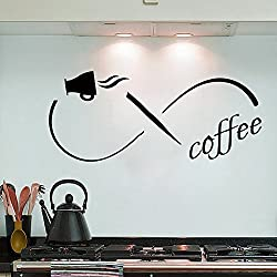 Coffee Infinity Symbol Vinyl Lettering Wall Quote Cafe Home Kitchen Study Living Room Decor Wall Art Decal 48W