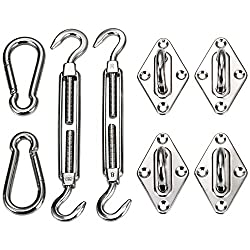 Ollieroo Shade Sail Hardware Kit For Rectangle & Square Sun Shade Sail Installation 8 Inches Silver