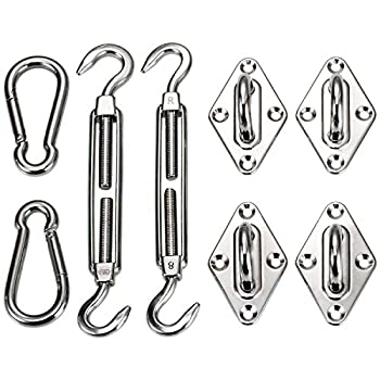 Ollieroo Shade Sail Hardware Kit For Rectangle & Square Sun Shade Sail Installation 8 Inches Silver 0