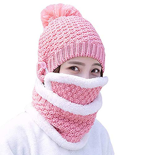 - ITODA Warm Women Beanie Hat Fleece Thick Skiing Skull Cap 3 in 1 Detachable Scarf Mouth Mask Slouchy Cold Weather Motorcycle Cycling Hat