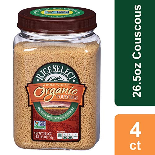 RiceSelect Organic Whole Wheat Couscous, 26.5 oz Jars (Pack of 4)