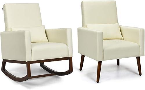 Giantex Armchair Set of Two Multifunctional Rocking Chair High Back Chair W/Fabric Cushion