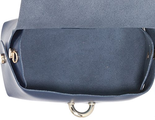 Laura Moretti - Bolso piel con cierre de cinturón (tamaño pequeño) estilo BANDOLERA o MINIBOLSO Metallic Blue