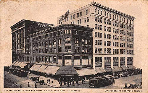 Washington DC Woodward and Lothrop Store and Trolley Vintage Postcard JE229143