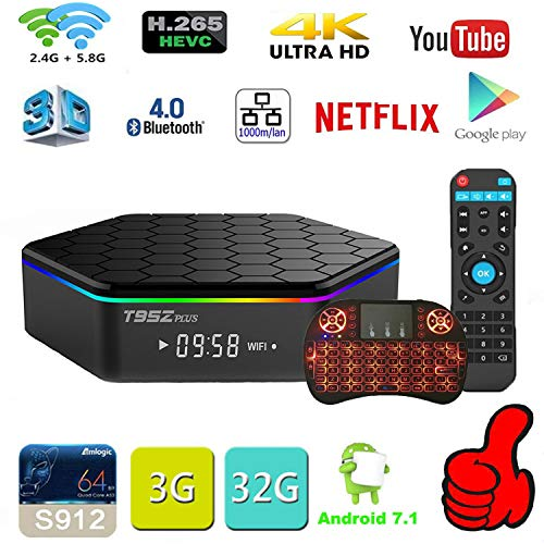 Android TV Box Android 7.1 OS Smart TV 3GB 32GB T95Z Plus Support USB 3.0 BT 4.1 2.4G- 5G Dual-Band Wi-F 3D 4K Full HD H…