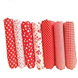 Souarts Fabric Bundles Quilting Sewing Patchwork Cloths DIY Craft Floral Fabric Red 25x25cm 7pcs