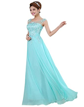 Erosebridal Pearl Appliques Evening Dresses Formal Elegant Bridesmaid Dresses Prom Gowns UK 28W Blue