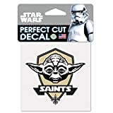 WinCraft New Orleans Saints Official NFL 4 inch x 4 inch Star Wars Yoda Die Cut Car Decal by 402028