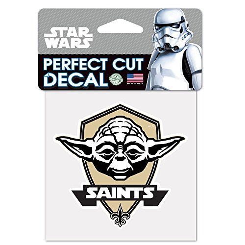WinCraft New Orleans Saints Official NFL 4 inch x 4 inch Star Wars Yoda Die Cut Car Decal by 402028 by WinCraft