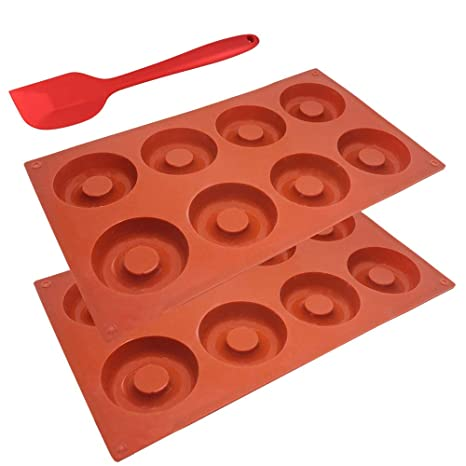 SourceTon Molde de silicona con espátula para donut, antiadherente, resistente al calor, flexible