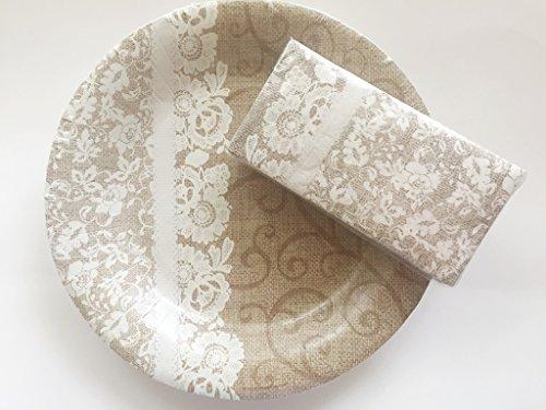 Burlap & Lace 10.5 inch Paper Plates & Napkins Bundle, Tableware, Country Chic, Vintage, Barn Weddings, Tea Parties