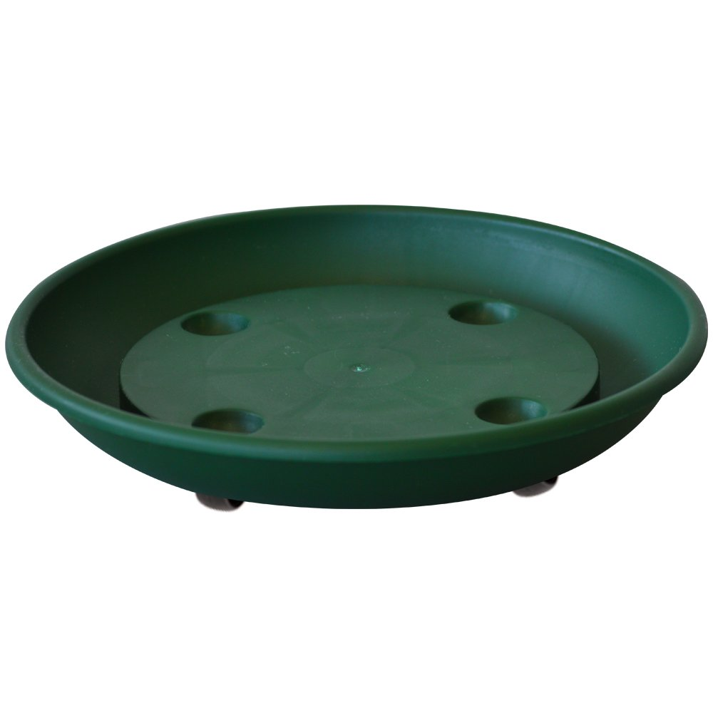 ALMI Rolling Plant Stand Caddy Saucer Round 10 Inch Dolly for Balcony Garden, Plastic Accent Square Planter Drip Tray, Home decor Planter For Plants, UV Resistant Paint, Indoor & Outdoor, Green
