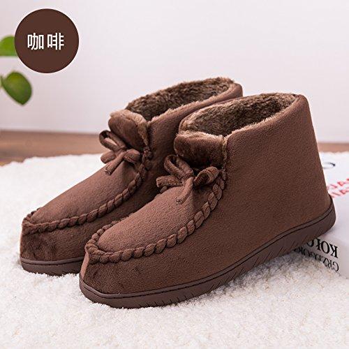 LaxBa Glisser sur lhiver au chaud en Fausse Fourrure Chaussons Chaussures pour hommes neige doublée 37-38 café convient à 36-37