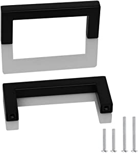Probrico 5 Pack Square Corner Bar Kitchen Cabinet Door Handles and Knobs Drawer Pulls Barthroom Bedroom Furniture Handles Black Stainless Steel Hole Centers 3.75 inch 96mm