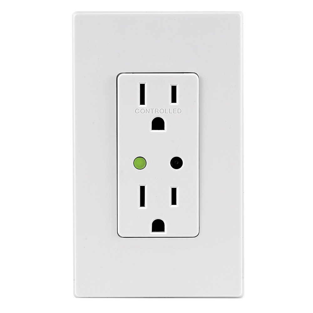 Leviton DZR15-1RZ Decora Z-Wave Controls 15-Amp Tamper Resistant Split Duplex Receptacle, White/Light Almond, Works with Alexa