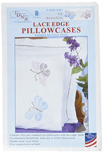 Jack Dempsey Pillowcase Lace - Jack Dempsey 1800-638 Stamped Pillowcases with Lace Edge (2 Pack), XX Butterflies, White