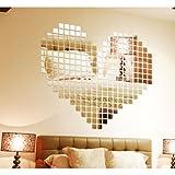 LING'S SHOP Mirror Tile Wall Sticker 3D Decal Mosaic Room Decor Stick On Modern Art Set of 100Pcs