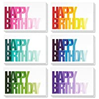 Birthday Card - Birthday Cards Bulk Box Set, Happy Birthday Cards, 6 Colorful Ombre Happy Birthday Designs with Blank on the Inside, Envelopes Included, 4 x 6 Inches