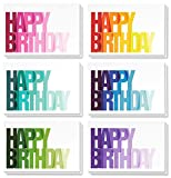 Best Paper Greetings Birthday Card - 48-Pack Birthday Cards Bulk Box Set, Happy Birthday Cards, 6 Colorful Ombre Happy Birthday Designs with Blank on the Inside, Envelopes Included, 4 x 6 Inches
