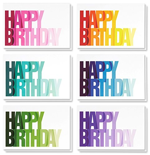 48 Pack Happy Birthday Greeting Cards 6 Rainbow Ombre Designs Bulk Box