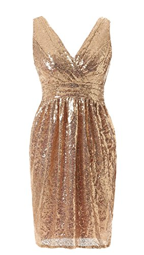Butmoon Short Sequined V Neck Bridesmaid Dresses