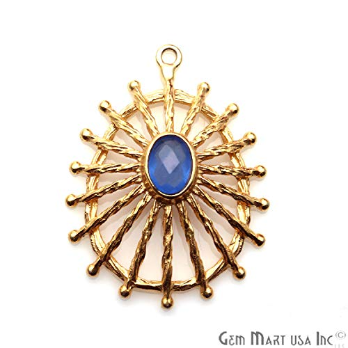 Blue Chalcedony Gemstone Oval Pendant, Gold Plated, Single Bail, 32x24mm Designer Earring Connector, Statement Pendant, ()