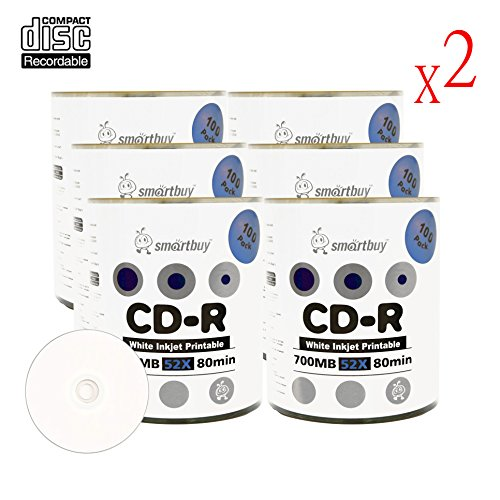 Smart Buy CD-R 1200 Pack 700mb 52x Printable White Inkjet Blank Recordable Discs, 1200 Disc, 1200pk by Smart Buy