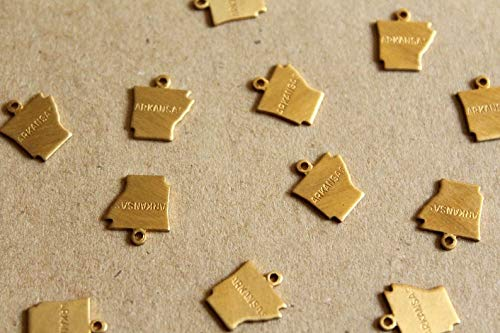 (8 pc. Raw Brass Stamped Arkansas State Charms/Blanks: 10.5mm by 12mm)