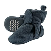 Hudson Baby Cozy Fleece Booties with Non Skid Bottom, Light Blue, 0-6 Months