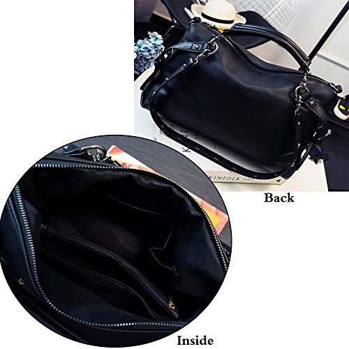 FiveloveTwo Women Middle Size Modern Punk Pu Leather Cross Body Rivet Top-handle Shoulder Bags Hobo Tote Satchel Handbags for Lady Black by FiveloveTwo (Image #3)