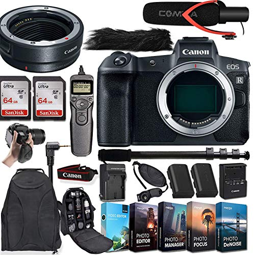 CanonEOS R Mirrorless Digital Camera (Body Only) and CanonMount Adapter EF-EOS R Bundled + Deluxe Accessories
