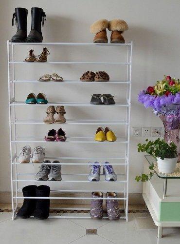 UPC 796762751242, TMS® 50 Pair 10 Tier Shoe Storage Tower Rack Metal Shelf Home Organizer Stand Holder