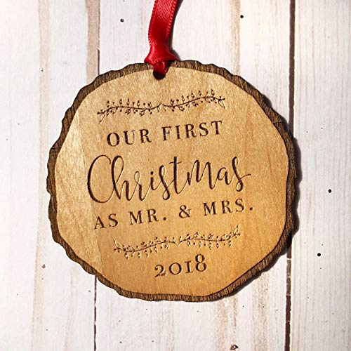 First Christmas as Mr & Mrs Ornament 2018, Rustic 1st Married Christmas Ornament, First Married, Laser Engraved Wooden Ornament, with Red Ribbon and Gift Box (Best Homemade Christmas Ornaments)