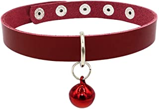 D-SYANA8 Fashion Cowhide Leather Snap Buttons Pet Dog Cat Adjustable Neck Collar Decor - Red M with Bell