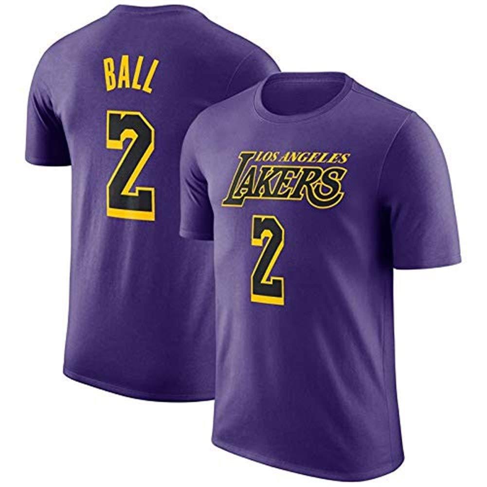 Color : Purple1, Size : M # 14 Maglie # 8 Gflyme Ldwxxx Maglia da Uomo T-Shirt NBA Los Angeles Lakers Sport Basketball Lettera T Moda Mezza Manica # 2