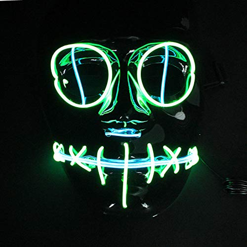 HITSAN Halloween Flash El Wire Led Glowing Beauty Christmas Party Mask Hot Sale One Piece ()