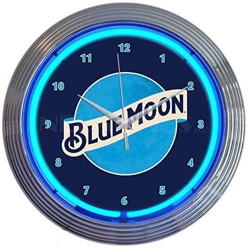 Neonetics Blue Moon Beer NEON Clock
