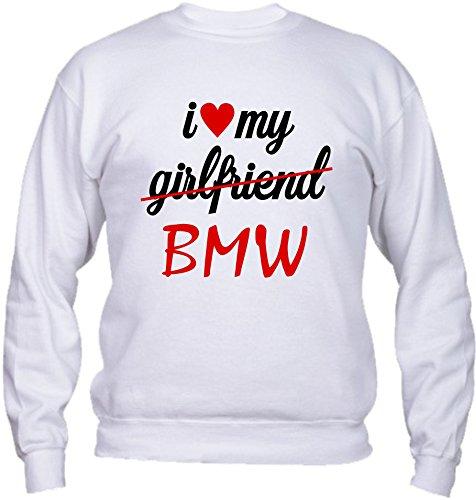 Bmw In Girocollo Felpa Love My Basic Vestibilità Humor Bianco Qualità Moto Italy Top Made Divertenti Auto I n86qCdxF6w