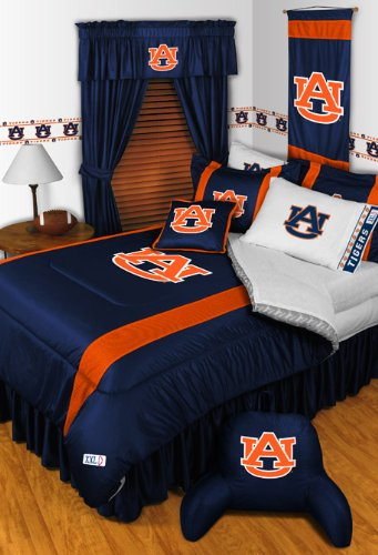 Auburn Tigers QUEEN Size 14 Pc Bedding Set (Comforter, Sheet Set, 2 Pillow Cases, 2 Shams, Bedskirt, Valance/Drape Set & Matching Wall Hanging) - SAVE BIG ON - Set Bed Auburn