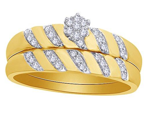 Round Cut White Natural Diamond Flower Cluster Bridal Set in 10K Yellow Sold Gold (0.16 - Set Flower Bridal Diamond